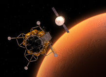 Interplanetary Space Station Orbiting Red Planet Stock Image