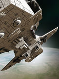 Interplanetary Spaceship Leaving Orbit, Close View Royalty Free Stock Images