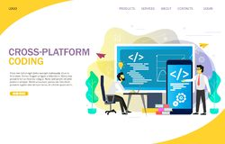 Interplataforma que cifra la plantilla de aterrizaje del vector de la página web de la página ilustración del vector