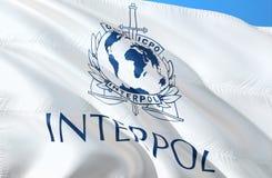 Interpol zaznacza falowanie w wiatrze, 3D rendering Interpol Europa Europa tajna służba Centralna Agencja Wywiadowcza Ochrona ilustracji