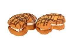 Interponga i biscotti, luna a forma di riempita di crema della vaniglia Fotografia Stock