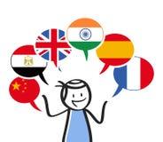 Interprète, chiffre de bâton parlant différentes langues, six ballons Chinois, drapeau anglais, arabe, espagnol, français, indien images stock