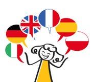 Interprète, chiffre de bâton parlant différentes langues, six ballons de la parole italiens, Allemand, drapeau britannique, espag image libre de droits