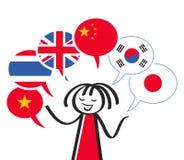 Interprète, chiffre de bâton parlant les différentes langues, six ballons de la parole avec le Chinois, anglais, vietnamien, coré photos stock