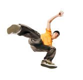Interprète de Breakdance sur le fond blanc Images libres de droits