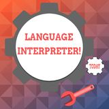 Interprète de langue d'apparence de signe des textes La photo conceptuelle donnent des messages entre deux langues différentes  illustration de vecteur