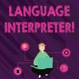 Interprète de langue d'apparence de signe des textes La photo conceptuelle donnent des messages entre se reposer différent de f illustration stock