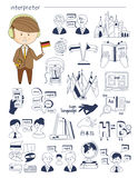 Interprète, linguiste, professeur, style de Doodle de tuteur illustration libre de droits