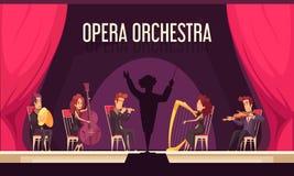 Interprétation d'orchestre de théâtre à plat illustration libre de droits