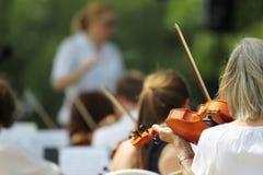 Interprétation d'orchestre symphonique Images libres de droits