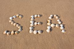 Interpréteur de commandes interactif de mer de mot écrit sur le sable de plage Image stock