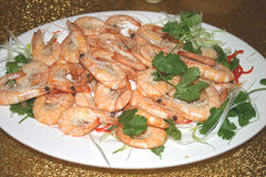 Interpréteur de commandes interactif sur des crevettes roses Image stock