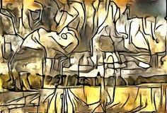 A interpretação da abstração de uma paisagem Foto de Stock