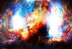 Interpretación de Jesús en la cruz en espacio cósmico Fotos de archivo libres de regalías