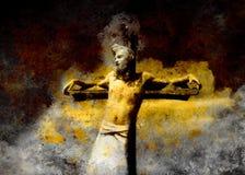 Interpretación de Jesús en la cruz, versión gráfica de la pintura Efecto de la sepia Foto de archivo