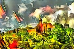 Interpretación del panorama del paisaje en el estilo del surrealismo Fotos de archivo libres de regalías