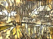 Interpretacja abstrakcja krajobraz Zdjęcie Stock