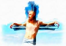 Interpretatie van Jesus op de dwars, grafische het schilderen versie royalty-vrije stock fotografie