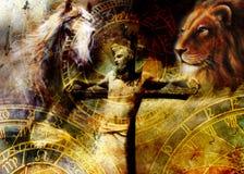 Interpretatie van Jesus op het kruis en de dieren en dierenriem, grafische het schilderen versie Sepia effect royalty-vrije illustratie