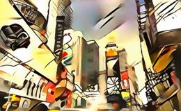The interpretation of abstract city skyline of new York`s avant-garde. The interpretation of abstract city skyline illustration of new York`s avant-garde Royalty Free Stock Photography