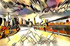 The interpretation of abstract city skyline of new York`s avant-garde. The interpretation of abstract city skyline illustration of new York`s avant-garde Royalty Free Stock Image