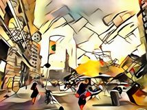 The interpretation of abstract city skyline of new York`s avant-garde. The interpretation of abstract city skyline illustration of new York`s avant-garde Stock Image