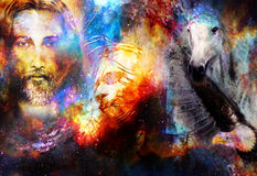 Interpretation of Jesus on the cross and animals in cosmic space. Royalty Free Stock Photography