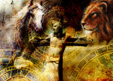 Interpretation of Jesus on the cross and animals and zodiac, graphic painting version. Sepia effect. Interpretation of Jesus on the cross and animals and zodiac Royalty Free Stock Images