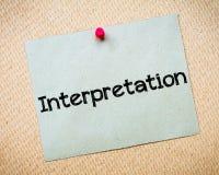 Interpretation Royalty Free Stock Photography