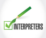 Interpreters check mark illustration Stock Image