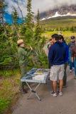 Interpretierender Förster entlang dem Planken-Hinterglacier nationalpark lizenzfreie stockfotografie