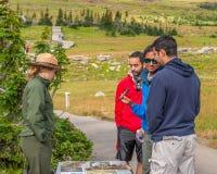 Interpretive Ranger along the Plank Trail Glacier National Park Royalty Free Stock Photos