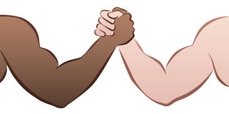 Interracial Arm Wrestling. Competition between a black and a caucasian man. Isolated vector illustration on white background Stock Photography