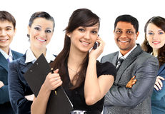 Interracial Business team of five people. Royalty Free Stock Photography
