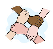Interracial Business Teamwork. A hand drawn vector illustration of 4 hands interlocking with each other Stock Image