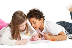 Interracial  children drawing Stock Photo