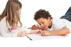 Interracial  children drawing together Stock Photography