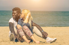 Interracial couple. On the beach Royalty Free Stock Image