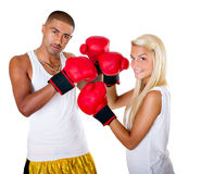 Interracial couple boxing Stock Photography