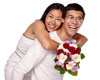 Interracial couple embracing Royalty Free Stock Images