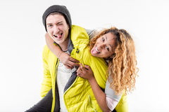 Interracial couple of friends making faces Stock Image