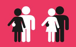 Interracial couple of man and woman - love relationship between black and white male and female. Skin color diversity among partners in partnership and stock illustration