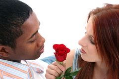 Interracial Couple with Rose Royalty Free Stock Photos