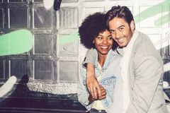 Interracial couple showing their love.  Royalty Free Stock Photos