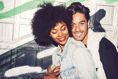 Interracial couple showing their love.  Stock Image