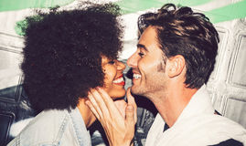 Interracial couple showing their love royalty free stock photos
