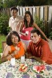 Interracial familie in binnenplaats Stock Afbeeldingen