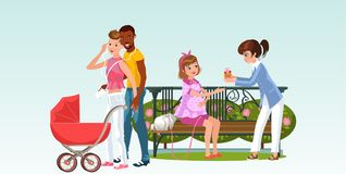 Interracial family with newborn and girls waiting for baby vector illustration