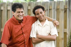 Interracial father and son royalty free stock photos