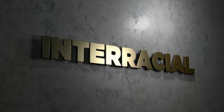 Interracial - Gold text on black background - 3D rendered royalty free stock picture Royalty Free Stock Photography